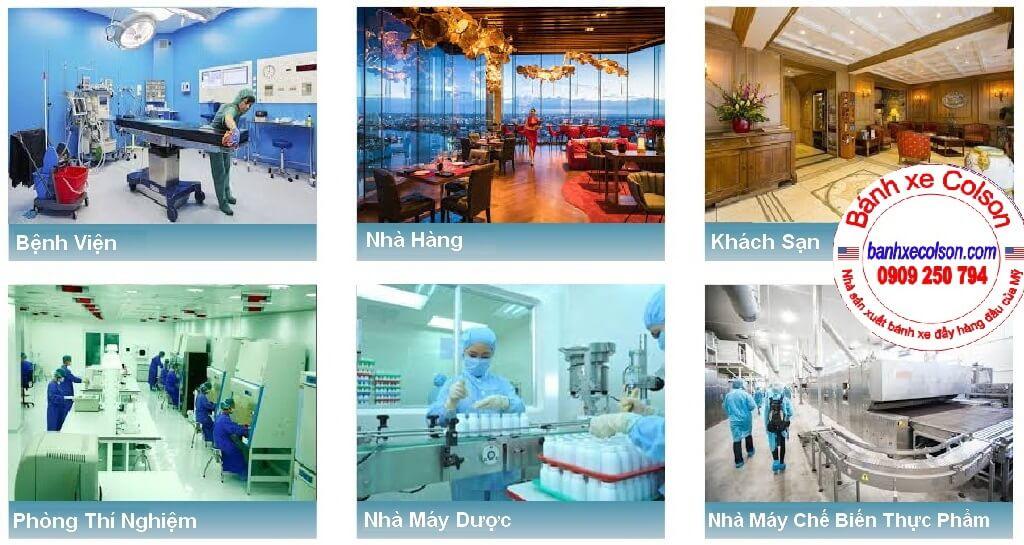 ứng Dụng Bánh Xe Khung Nhựa Cao Su Mềm Performa, Mặt đế Banhxecolson.com