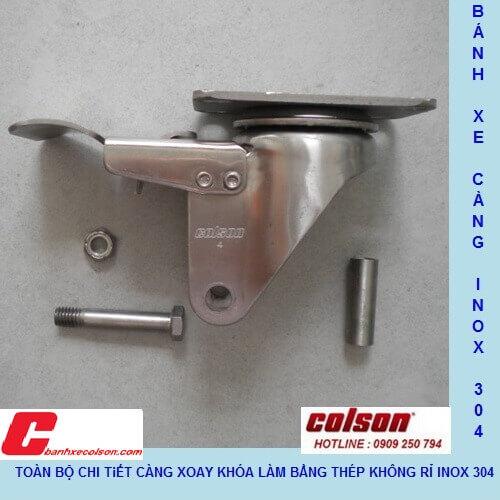 Càng Inox 304 Bánh Xe Nhựa Pu, Xoay Khóa Tải Trung Banhxecolson.com