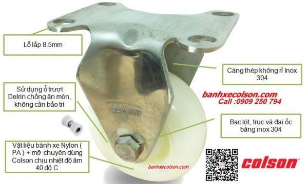 Bánh Xe Càng Inox 304 Nylon Stainless Steel Caster Banhxecolson.com