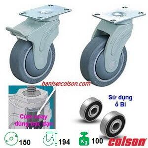 Bánh Xe Phi 150 Càng Nhựa Chịu Lực 100kg, Mặt đế Colson Banhxecolson.com