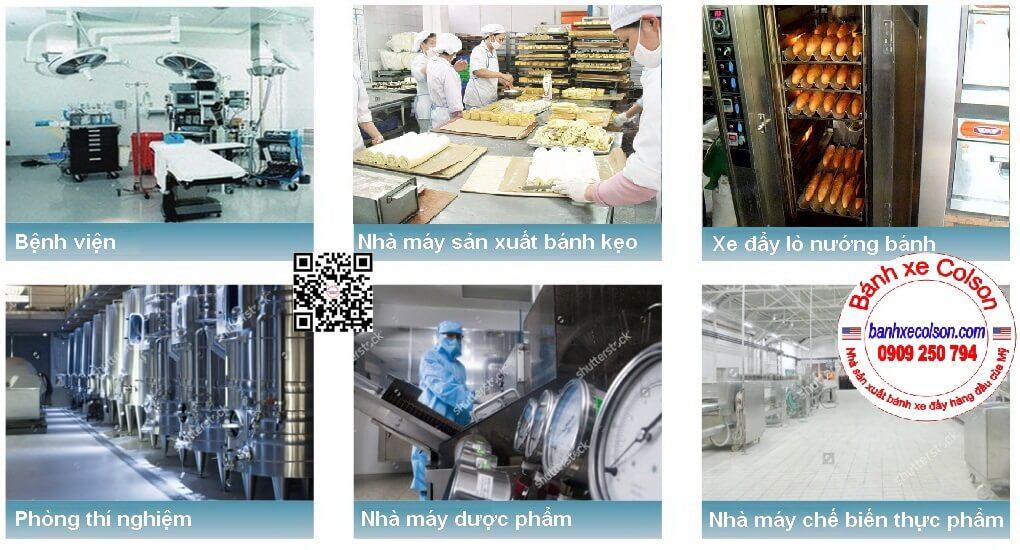 ứng Dụng Bánh Xe Chịu Nhiệt độ Cao 230 độ C Càng Mạ Kẽm Banhxecolson.com