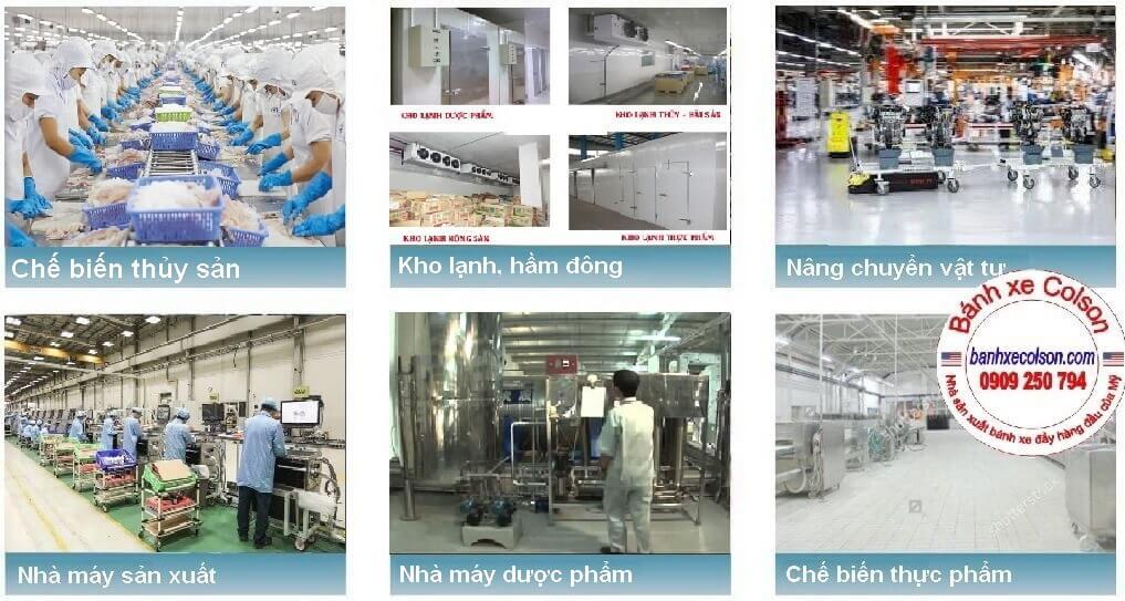 Bánh Xe Nhựa Trắng Dùng Cho Xe đẩy Thủy Sản, Kho Lạnh, Hầm đông, Dược Phẩm Banhxecolson.com