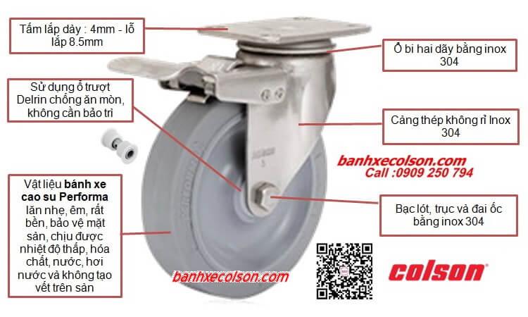 Bánh Xe Cao Su Có Khóa Càng Inox Colson Stainless Steel Caster Banhxecolson.com