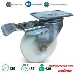 Bánh Xe Nhựa Có Khóa D125 Càng Inox 2 5456 254 Brk4 Banhxecolson.com