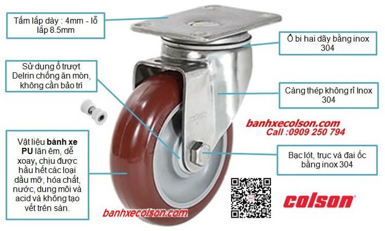 Bánh Xe Pu đỏ Càng Inox Xoay Colson Stainless Steel Caster Banhxecolson.com