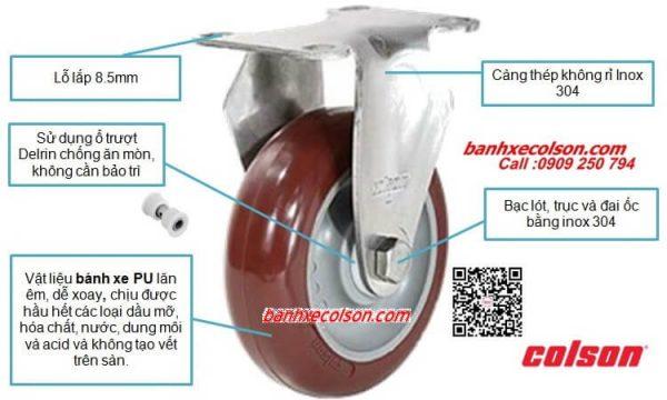 Bánh Xe Pu Càng Inox Colson Stainless Steel Caster Banhxecolson.com