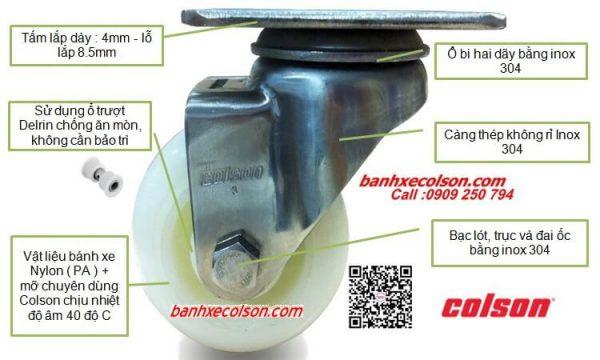 Bánh Xe Xoay Càng Inox 304 Nylon Stainless Steel Caster Banhxecolson.com