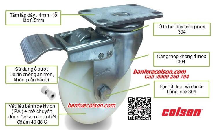 Bánh Xe Xoay Có Khóa Càng Inox 304 Nylon Stainless Steel Caster Banhxecolson.com