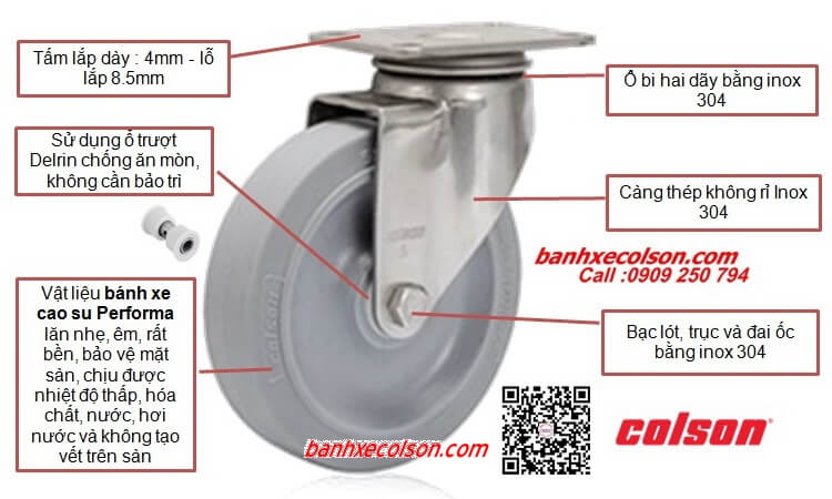 Bánh Xe Xoay Cao Su Càng Inox Colson Stainless Steel Caster Banhxecolson.com