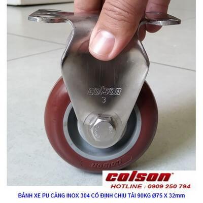 Giá Bánh Xe Nhựa Pu Phi 75 Càng Inox Cố định 2 3308ss 944 Banhxecolson.com