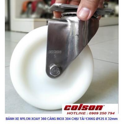 Giá Bánh Xe Nhựa Trắng D125 Càng Inox Xoay 2 5456 254 Banhxecolson.com