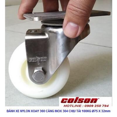Giá Bánh Xe Xoay D75 Nhựa Nylon Càng Inox 2 3356ss 254 Banhxecolson.com