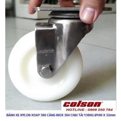 Giá Bánh Xe Xoay Inox Phi 100 Nhựa Nylon 2 4456 254 Banhxecolson.com
