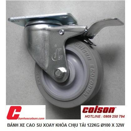Hình ảnh Thực Tế Bánh Xe Nhựa Cao Su Xoay Khóa 10cm S2 4256 Tpe B4w Banhxecolson.com