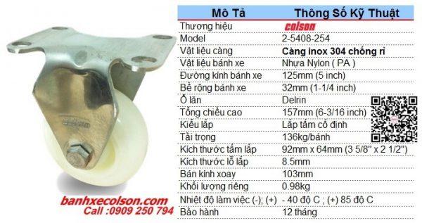 Kích Thước Bánh Xe đẩy Hàng Inox Nhựa Nylon D125 2 5408 254 Banhxecolson.com