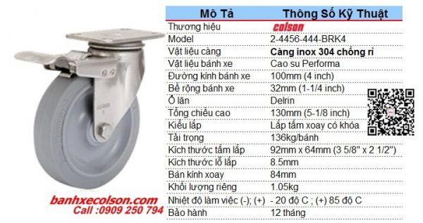 Kích Thước Bánh Xe đẩy Inox Có Khóa Cao Su D100 2 4456 444 Brk4 Banhxecolson.com