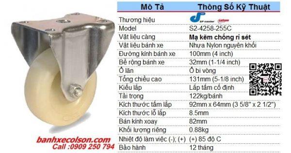 Kích Thước Bánh Xe 100x32 Càng Cố định Nhựa Nylon S2 4258 255c Banhxecolson.com