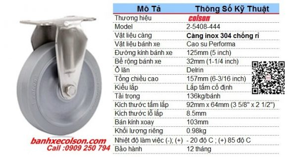 Kích Thước Bánh Xe 125mm Cao Su Càng Bánh Xe Inox 304 2 5408 444 Banhxecolson.com