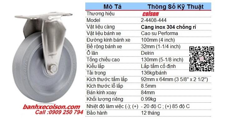 Kích Thước Bánh Xe Càng Inox 304 Bánh Xe Cao Su D100 2 4408 444 Banhxecolson.com