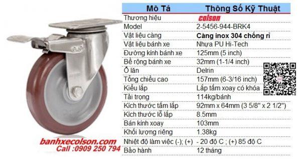 Kích Thước Bánh Xe Có Khóa Pu D125 Càng Inox 2 5456 944 Brk4 Banhxecolson.com