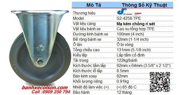Kích Thước Bánh Xe Cao Su 10cm Càng Thép Cố định S2 4258 Tpe Banhxecolson.com