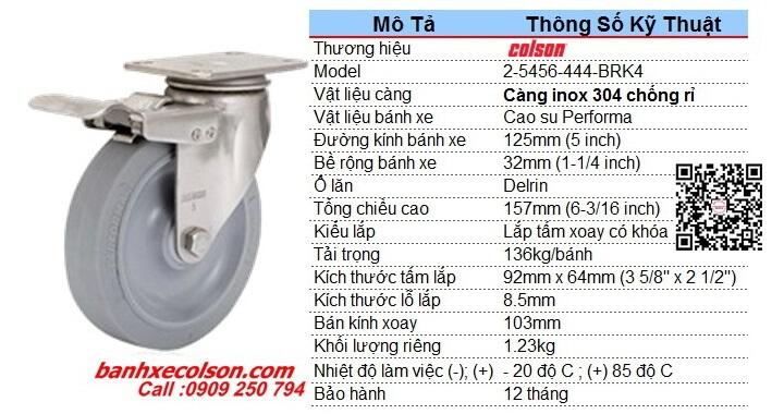 Kích Thước Bánh Xe Cao Su 5inch Càng Inox Có Khóa 2 5456 444 Brk4 Banhxecolson.com