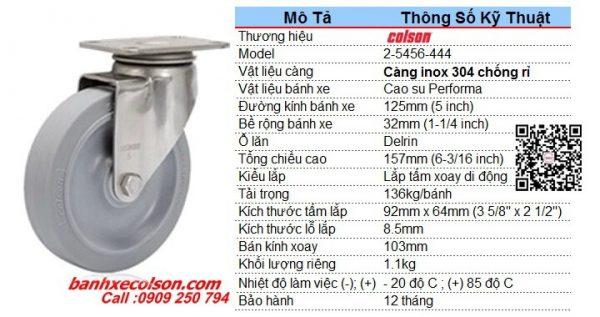 Kích Thước Bánh Xe Cao Su D125 Càng Bánh Xe Xoay Inox 2 5456 444 Banhxecolson.com