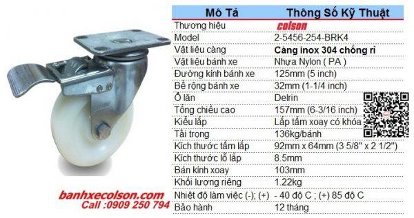 Kích Thước Bánh Xe Nhựa Có Khóa D125 Càng Inox 2 5456 254 Brk4 Banhxecolson.com