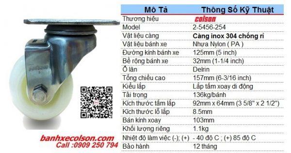 Kích Thước Bánh Xe Nhựa Trắng D125 Càng Inox Xoay 2 5456 254 Banhxecolson.com