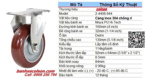 Kích Thước Bánh Xe Pu 100 Càng Inox Cố định 2 4408 944 Banhxecolson.com