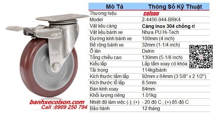 Kích Thước Bánh Xe Pu Có Khóa Càng Inox D100 2 4456 944 Brk4 Banhxecolson.com