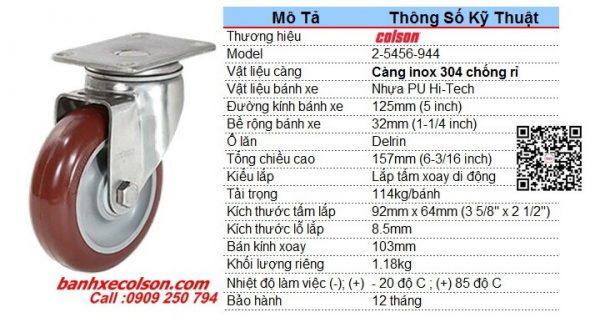 Kích Thước Bánh Xe Pu Chịu Lực D125 Càng Inox Xoay 2 5456 944 Banhxecolson.com