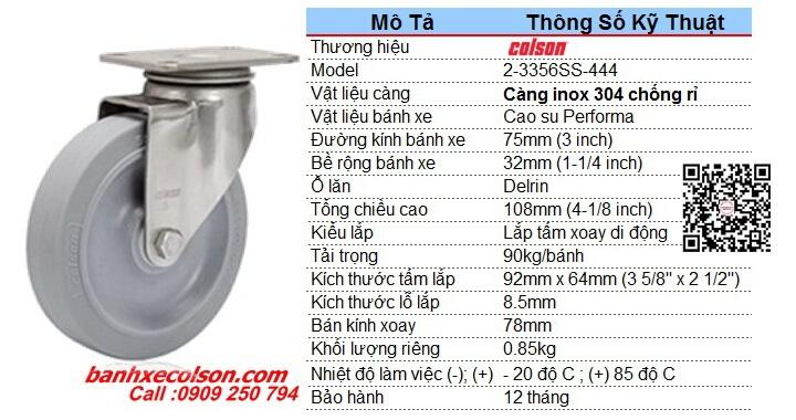 Kích Thước Bánh Xe Xoay Cao Su D75 Càng Inox 2 3356ss 444 Banhxecolson.com