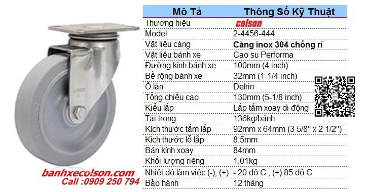 Kích Thước Bánh Xe Xoay Inox Bánh Xe Nhựa Cao Su D100 2 4456 444 Banhxecolson.com