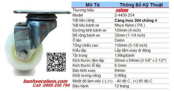 Kích Thước Bánh Xe Xoay Inox Phi 100 Nhựa Nylon 2 4456 254 Banhxecolson.com