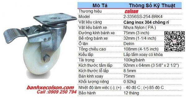 Kích Thước Bánh Xe Xoay Khóa D75 Nhựa Nylon Càng Inox 2 3356ss 254 Brk4 Banhxecolson.com