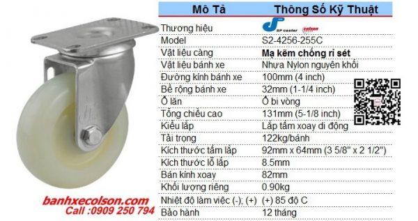 Kích Thước Bánh Xe Xoay Phi 100 Nhựa Trắng Nylon S2 4256 255c Banhxecolson.com