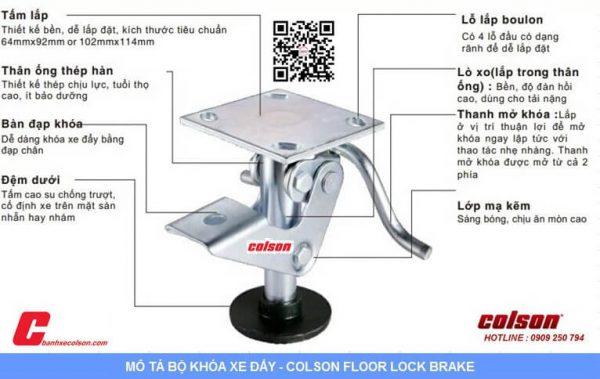 Quy Cách Khóa Sàn Xe đẩy Hàng Colson Floor Lock Brake Banhxecolson.com