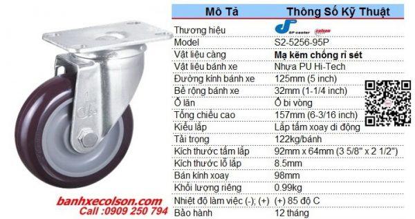 Quy Cách Bánh Xe đẩy Xoay Nhựa Pu 125x32mm S2 5256 95p Banhxecolson.com