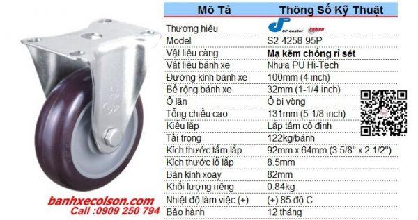Quy Cách Bánh Xe Pu 100x32 Càng Cố định S2 4258 95p Banhxecolson.com