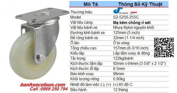 Quy Cách Bánh Xe Tự Xoay Nhựa Nylon Phi 125 S2 5256 255c Banhxecolson.com