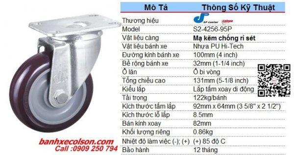 Quy Cách Bánh Xe Xoay 360 Nhựa Pu 100x32 S2 4256 95p Banhxecolson.com