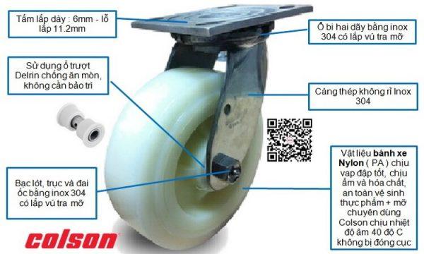 bánh xe đẩy càng inox nhựa nylon xoay chịu lực banhxecolson.com