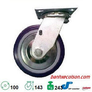 Bánh Xe đẩy Nhựa Pu 4in (10cm ) Càng Xoay S4 4209 925p Banhxecolson.com