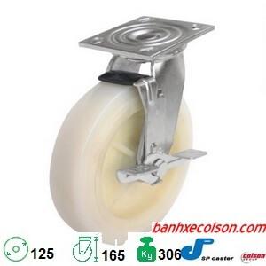 Bánh Xe 125 Xoay Khóa Nhựa Trắng Nylon S4 5209 829 B3 Banhxecolson.com