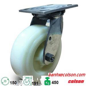 bánh xe 150mm càng inox 304 PA xoay chuyển hướng 64001 banhxecolson.com