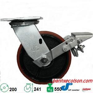bánh xe chịu lực 550kg pu cốt gang d200 có khóa S4-8209-959-BK180 banhxecolson.com