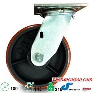 bánh xe dẫn hướng 100 x 51 pu lõi gang chịu tải 315kg S4-4209-959 banhxecolson.com