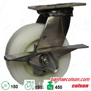 bánh xe lăn càng inox có khóa Nylon d150 4-6409-824-BRK3 banhxecolson.com