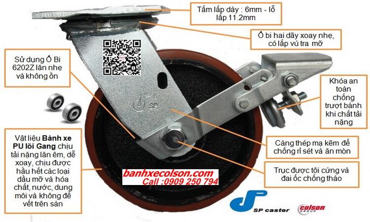 bánh xe pu lõi gang thép càng xoay khóa banhxecolson.com